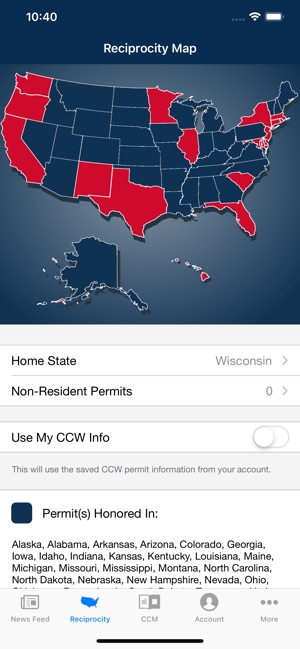 Concealed Carry App By Uscca On The App Store - Us-concealed-carry-reciprocity-map