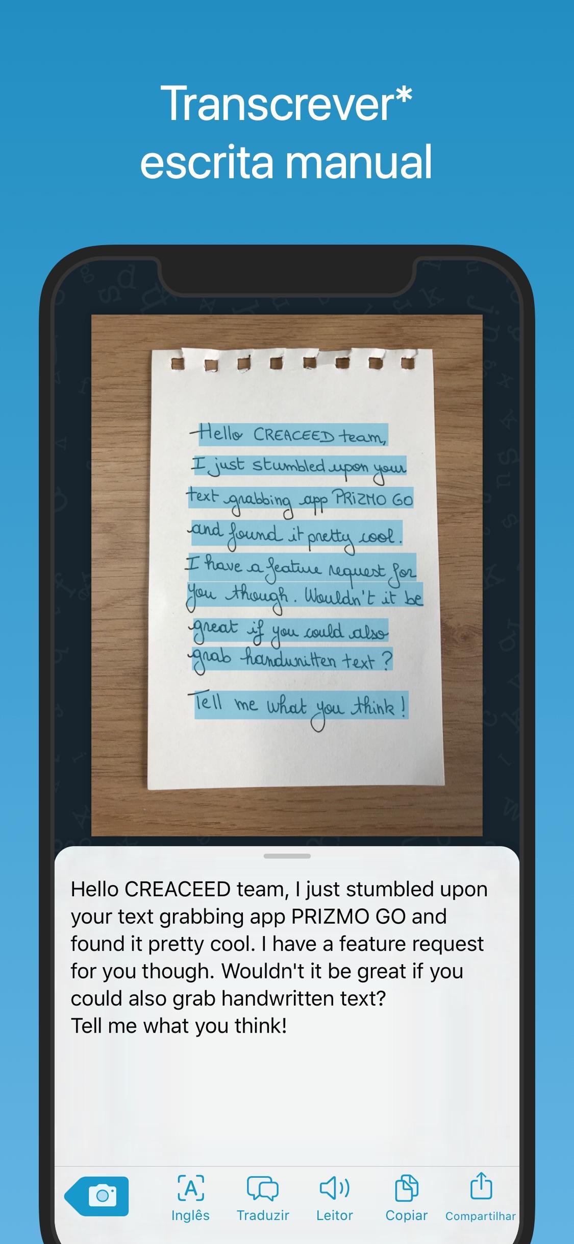 Screenshot do app Prizmo Go › Text Grabber