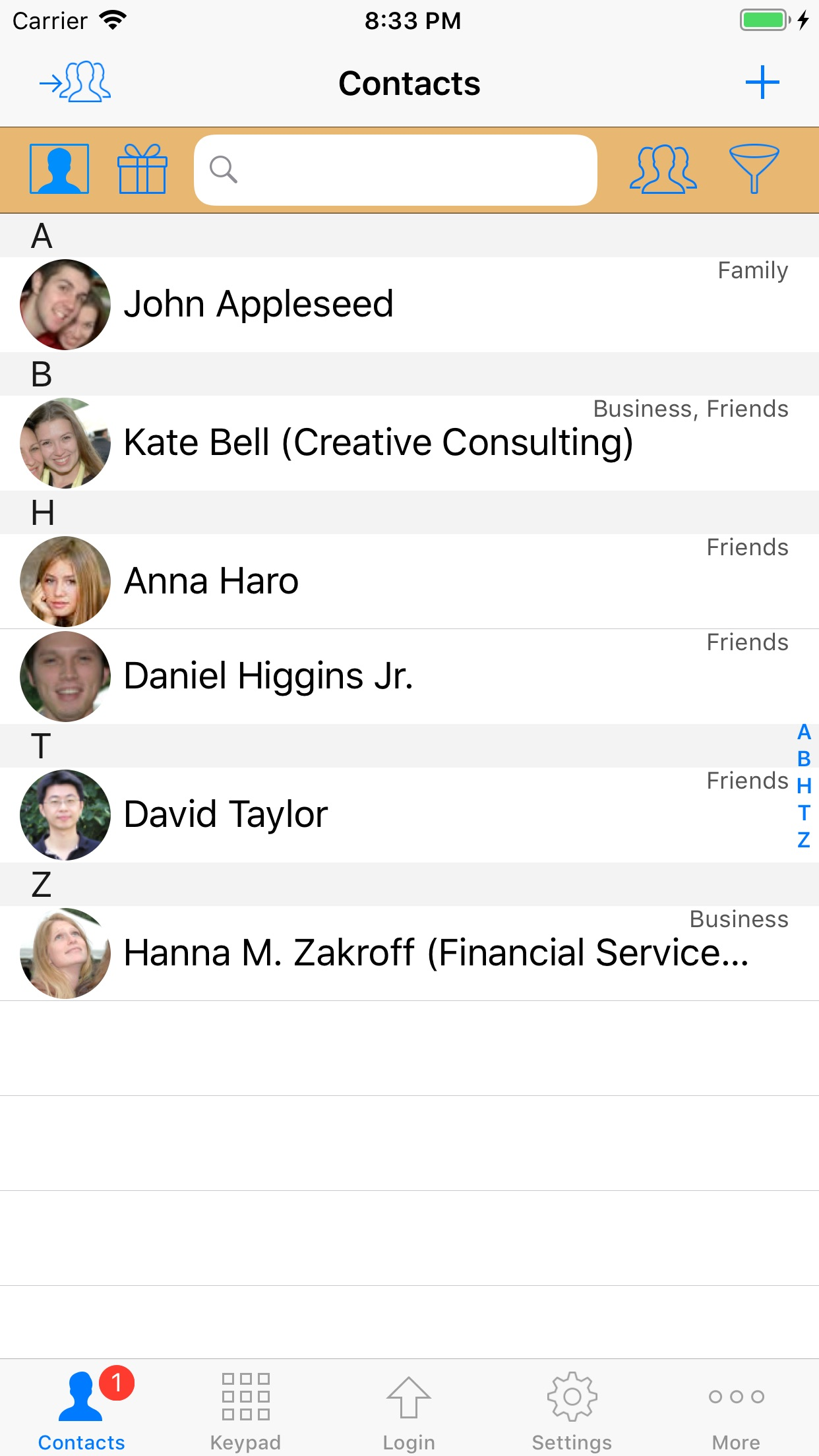 ContactsPro for iPad Screenshot