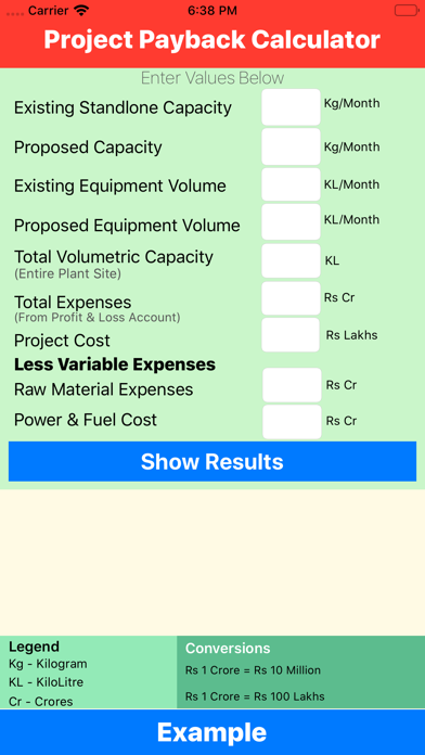 Project Payback Calculator-ROI screenshot 1