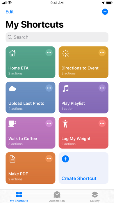 Shortcuts screenshot 1
