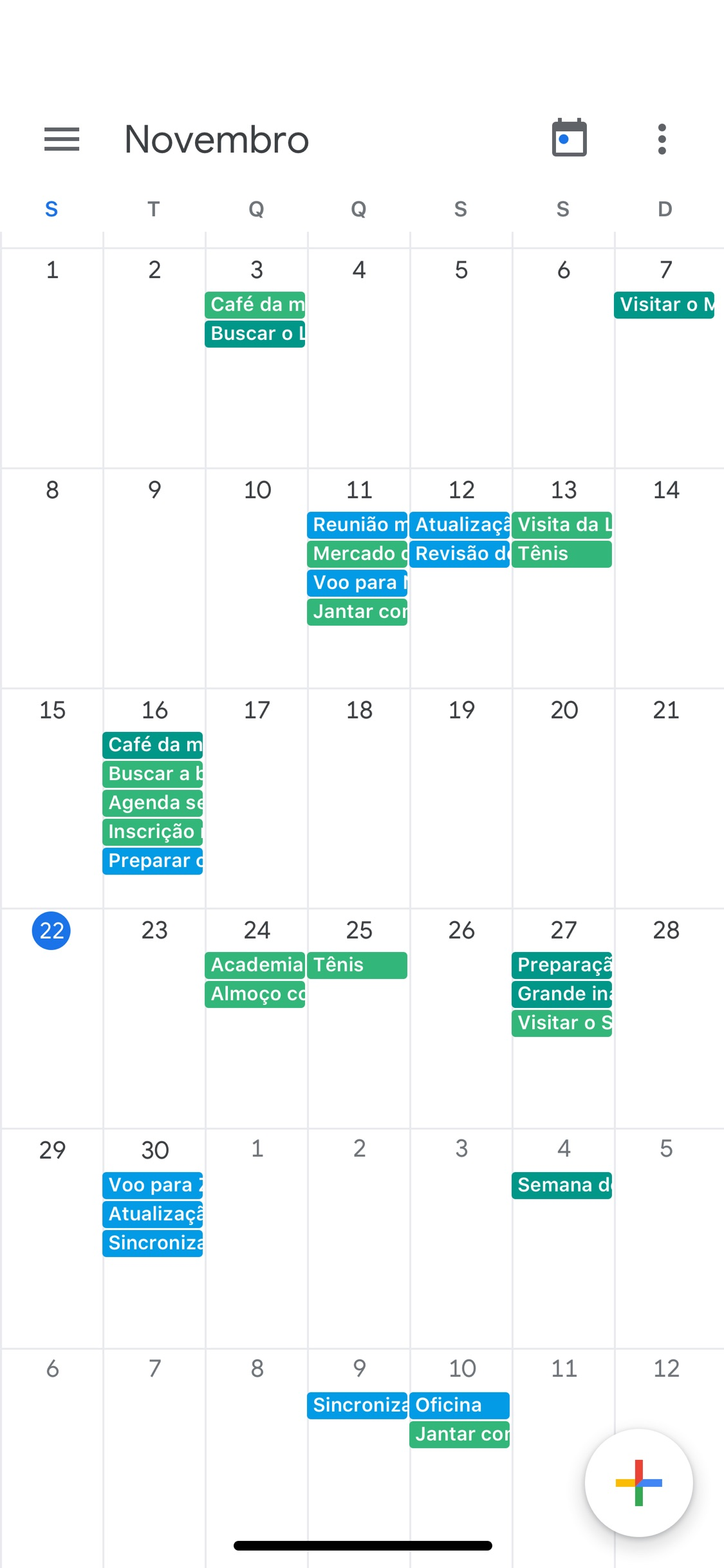 Screenshot do app Google Agenda