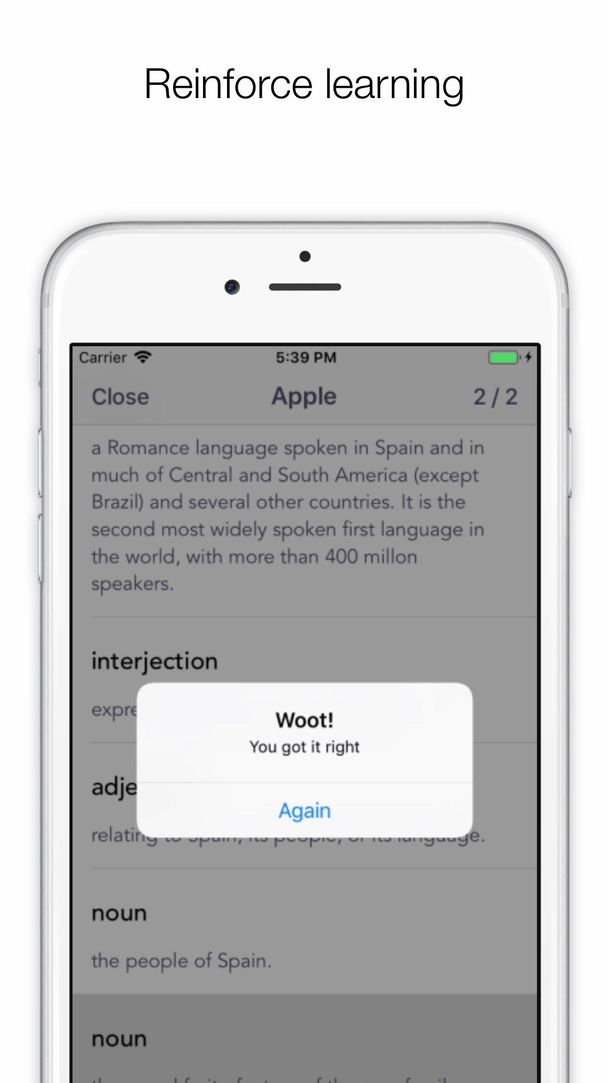 Screenshot do app Word Manager