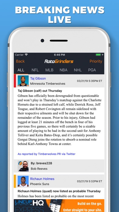 RotoGrinders Daily Fantasy Screenshot