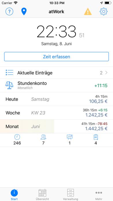 Screenshot for atWork Zeiterfassung Stechuhr in Austria App Store