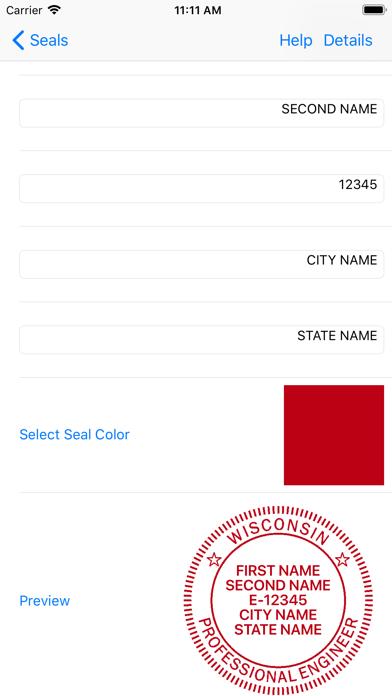 Screenshot of Engineer Seals App