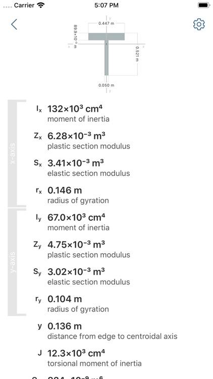 Cross Section Engineering Data