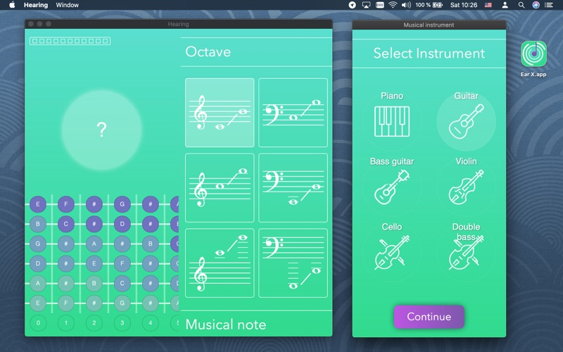 Hearing: ear training. Piano. Screenshots