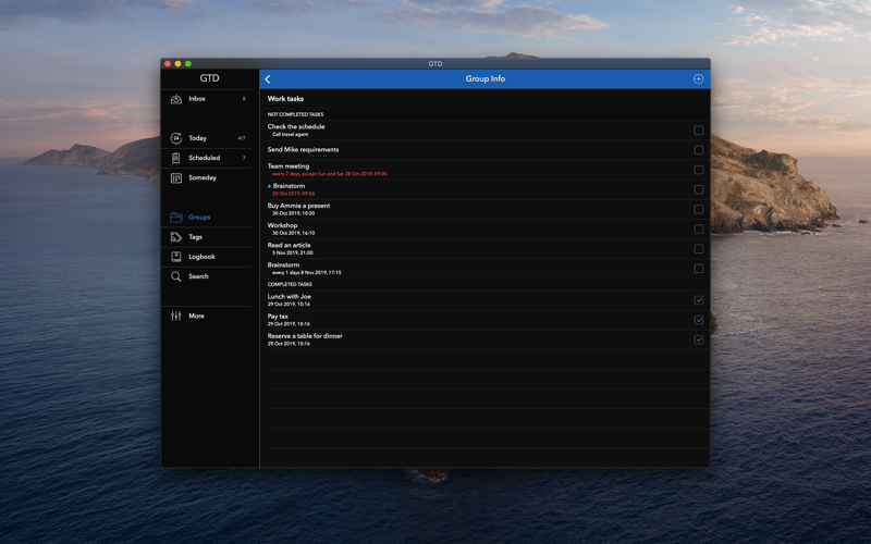 Screenshot of GTD task & to-do list