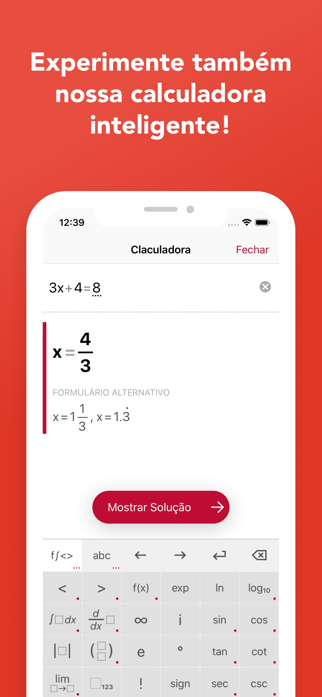 Screenshot do app Photomath