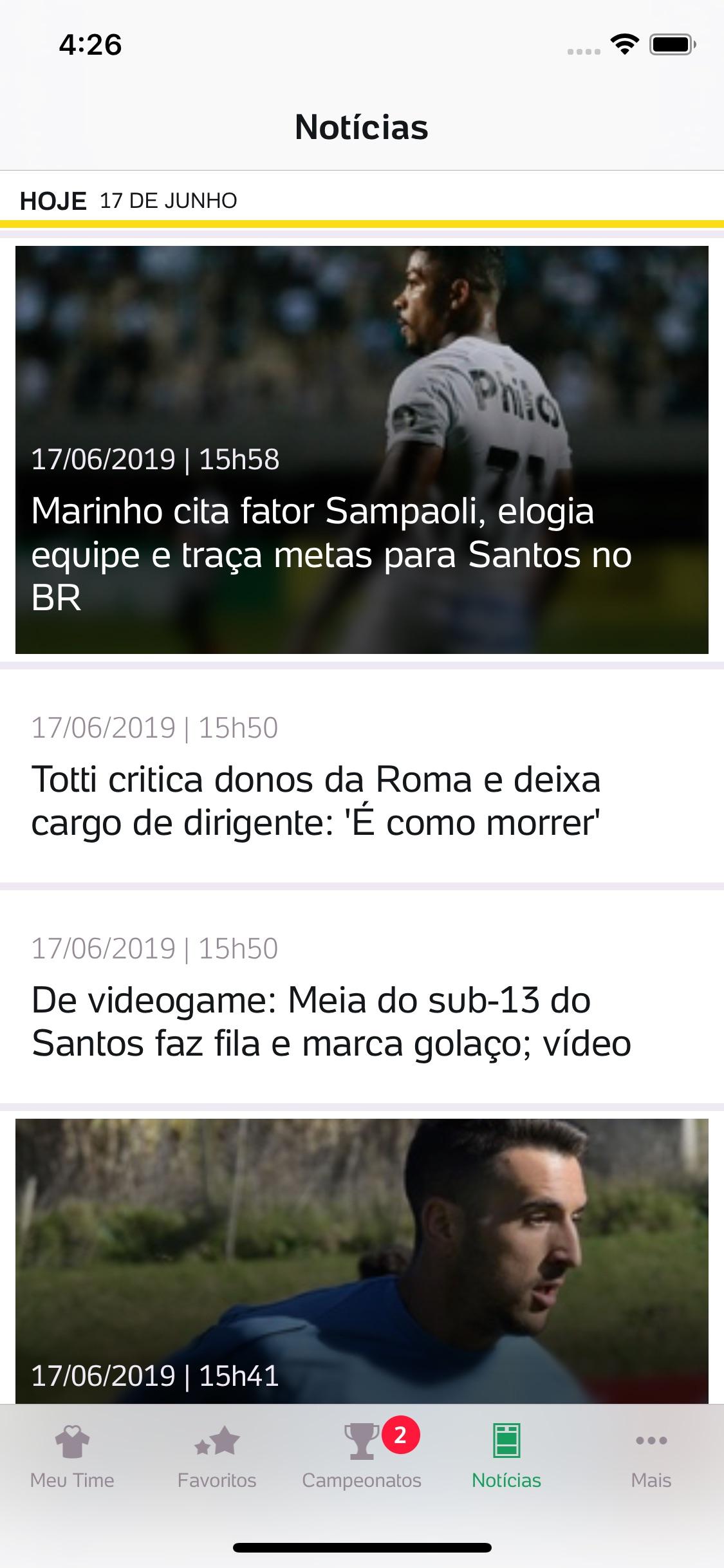 Screenshot do app Placar UOL - Brasileirão 2019