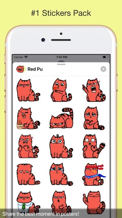 Red Pu The Amazing Cat Sticker