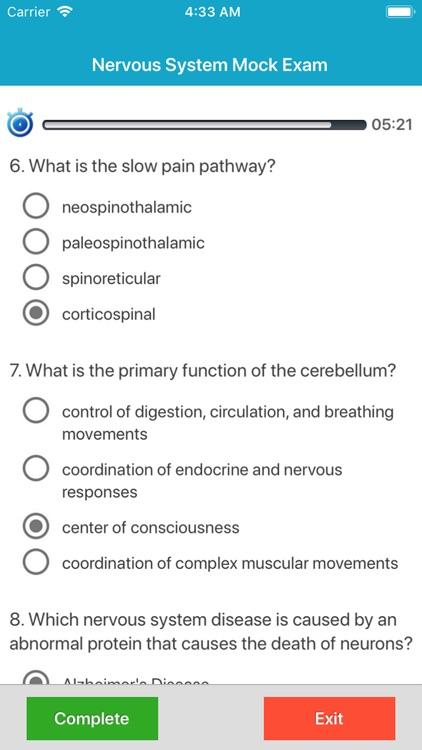 Nervous System Quizzes screenshot-3