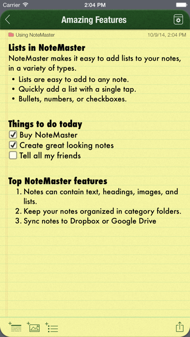 NoteMaster - Amazing notes synced with Dropbox or Google Drive screenshot