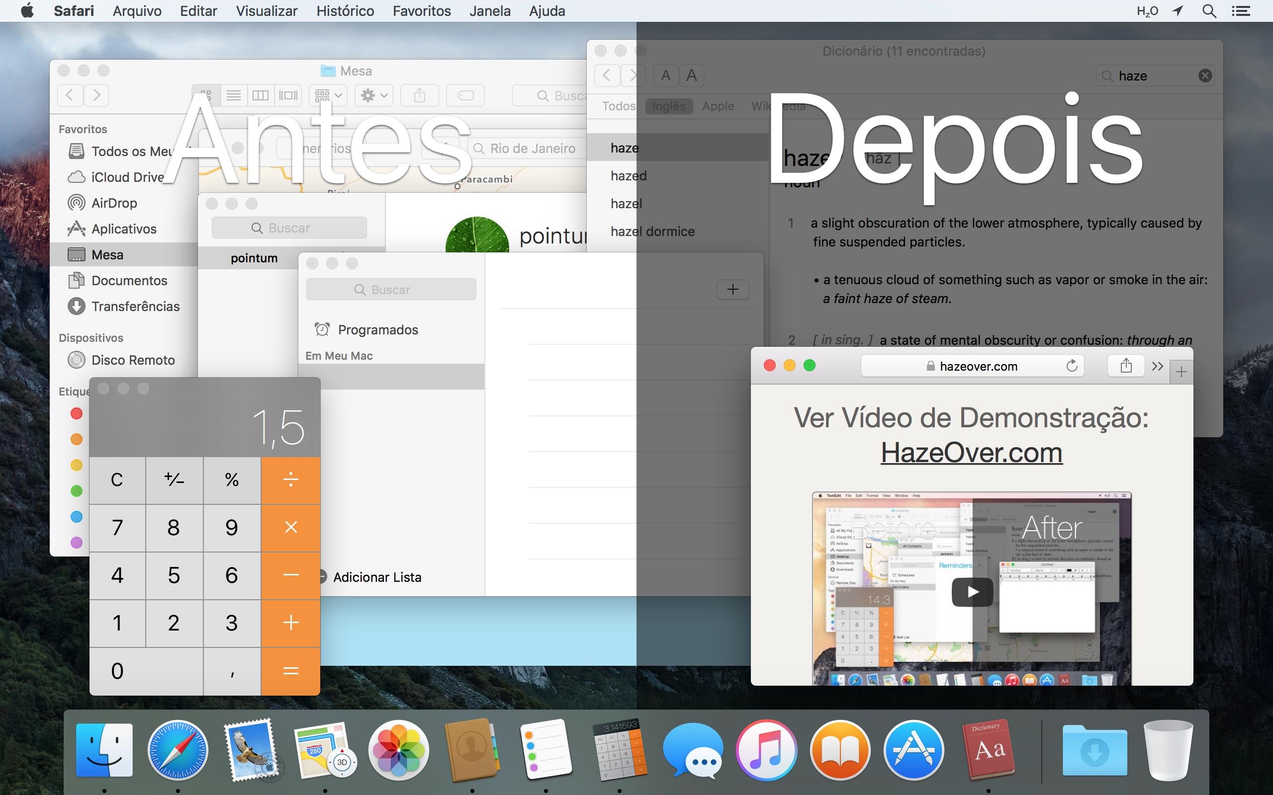 Screenshot do app HazeOver • Menos distrações