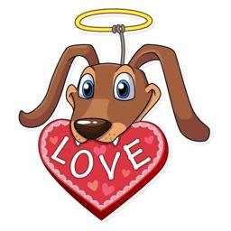 Cupid Dog Love Stickers