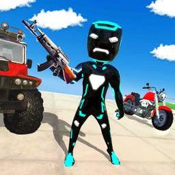 Neon Iron Stickman Superhero