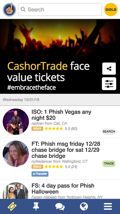 CashorTrade Face Value Tickets