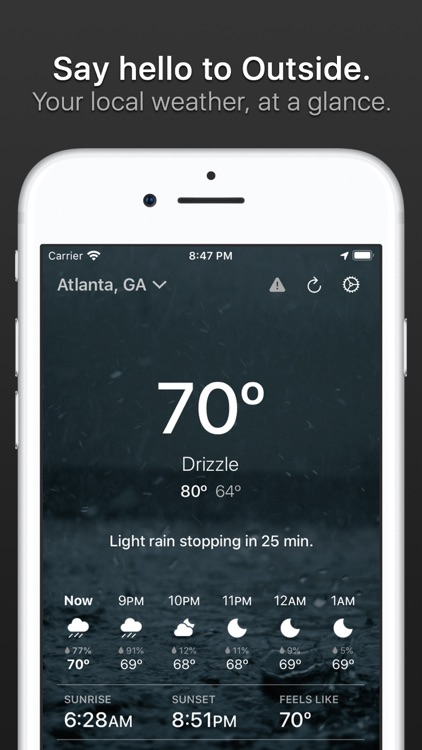 Outside - weather at a glance