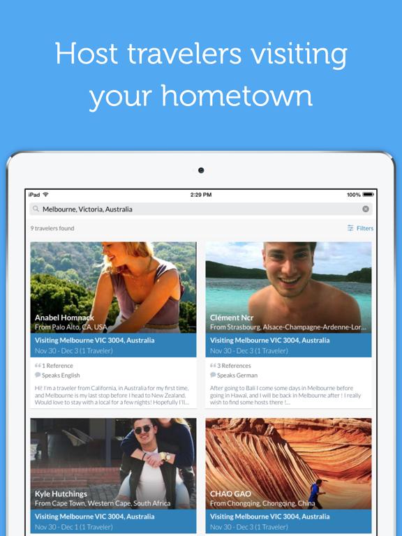 Couchsurfing Travel App iPad app afbeelding 2