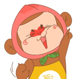 Flat peach monkey Sticker