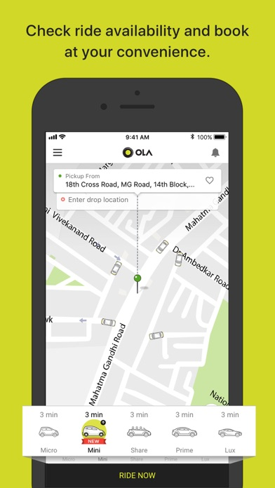 messages.download Ola Cabs software