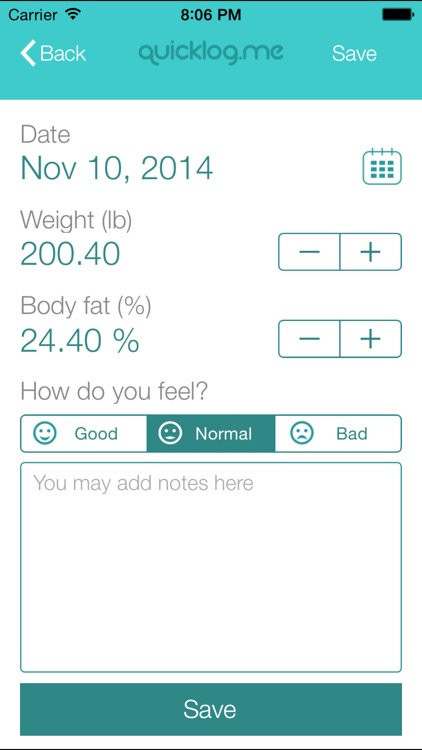 Weight Tracker QuickLog.me screenshot-3