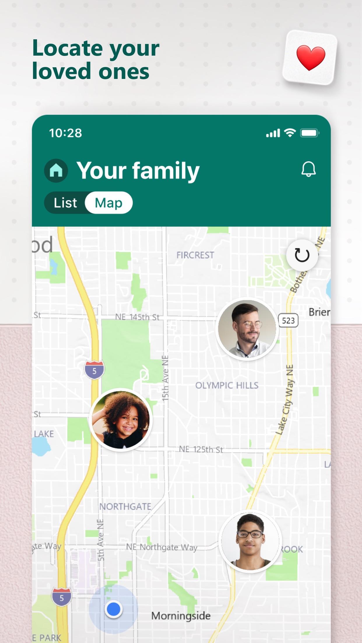 Screenshot do app Microsoft Family Safety
