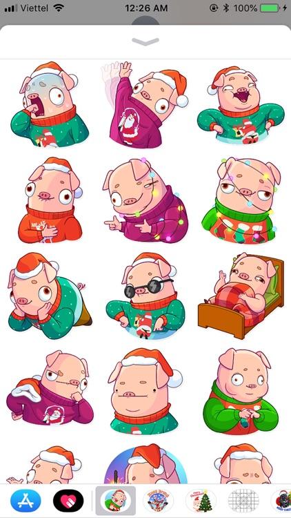 Christmas Piggy Funny Sticker