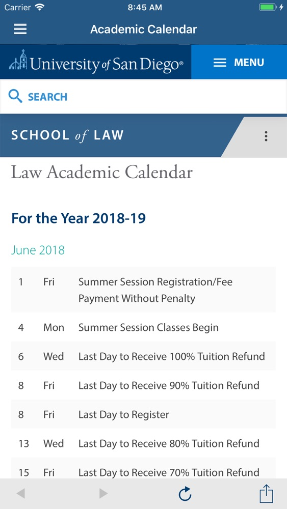 University Of San Diego Academic Calendar.Usd Law App For Iphone Free Download Usd Law For Iphone At Apppure