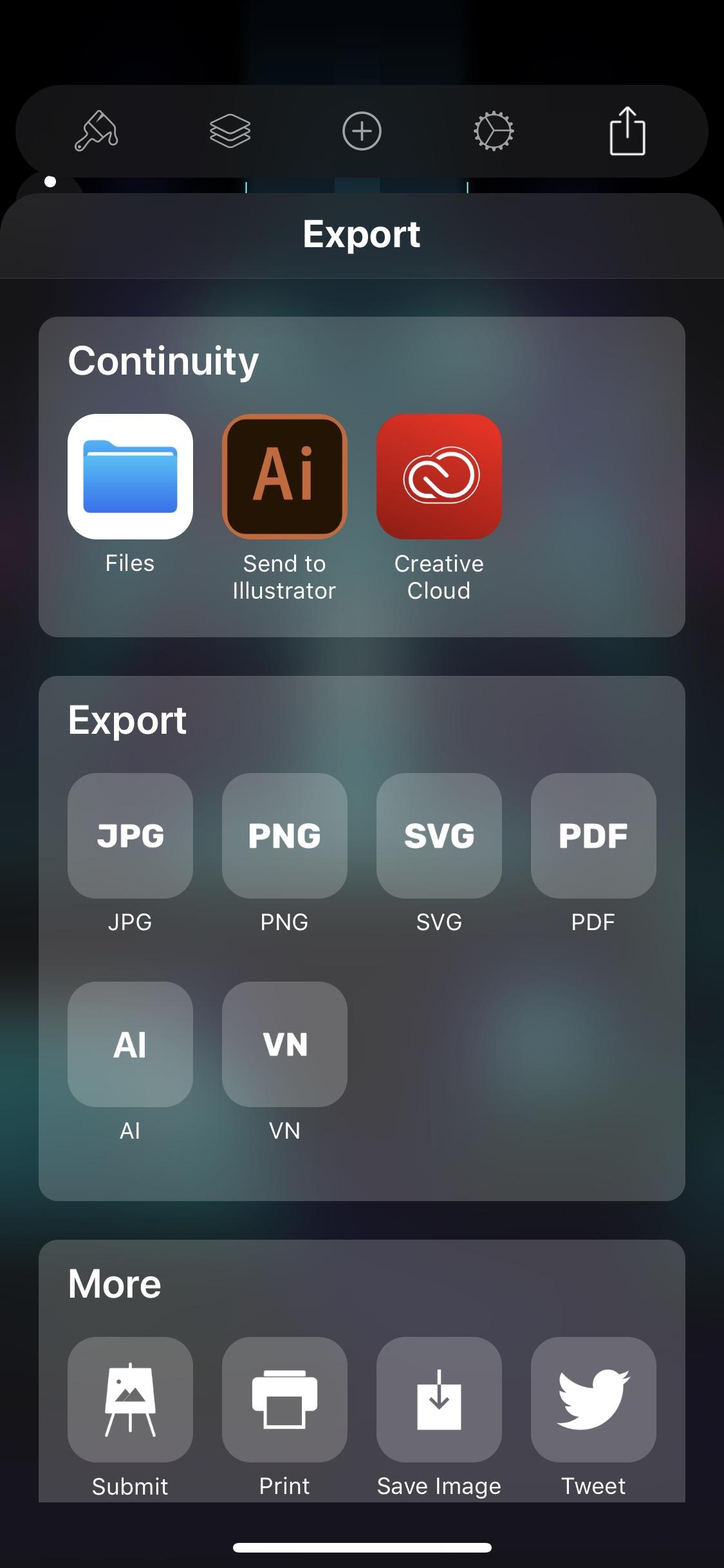 Screenshot do app Vectornator