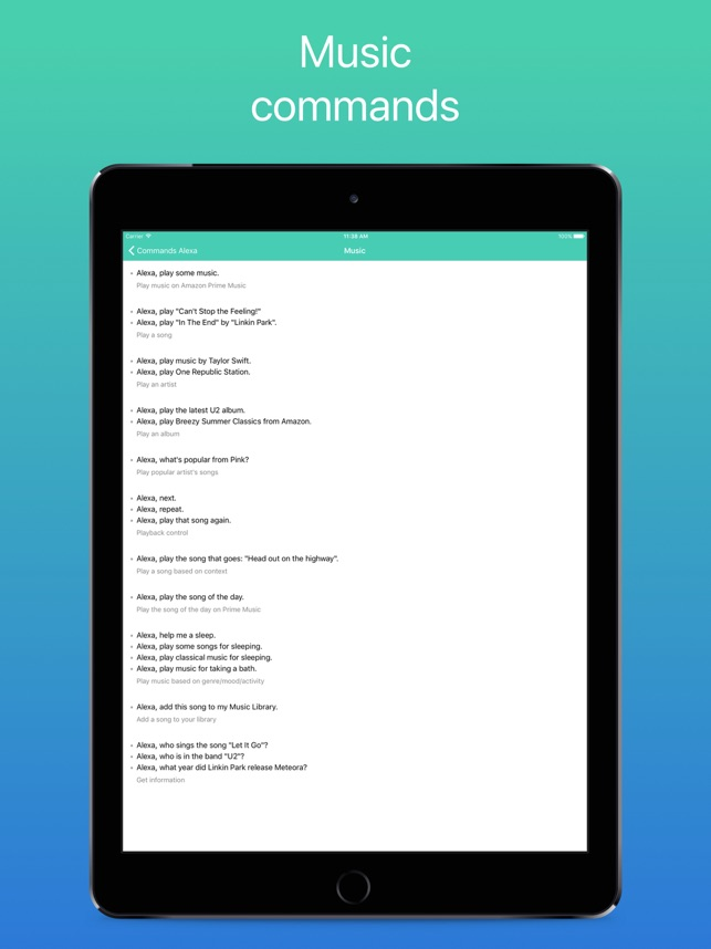 Commands for Alexa on the App Store