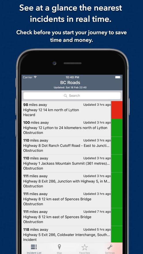 British Columbia Roads App 截图