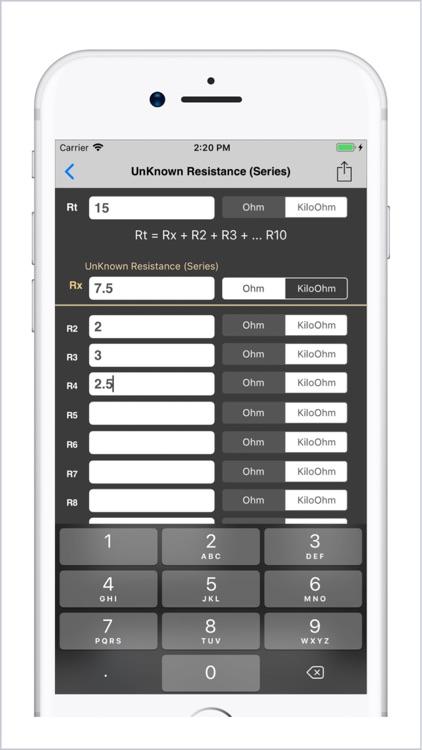 Electrical Calculator lite screenshot-3