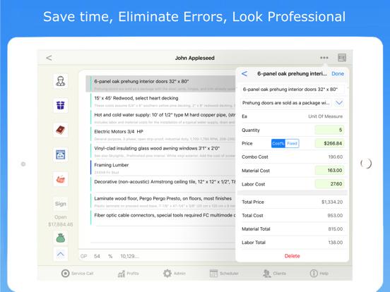 Contractor Estimate & Invoice Screenshots