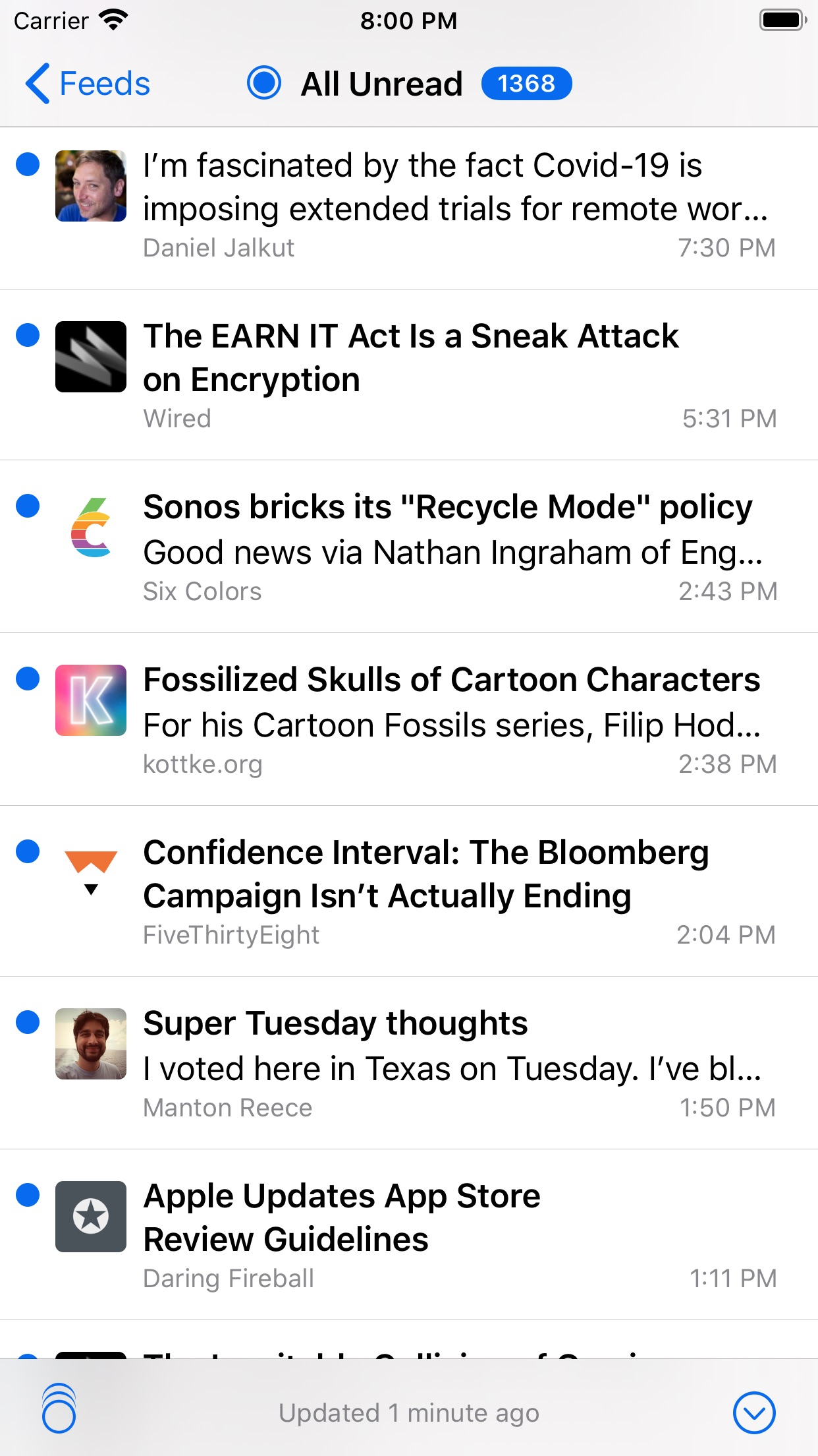 Screenshot do app NetNewsWire: RSS Reader