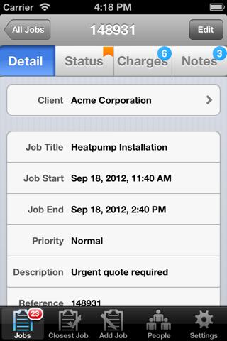 Screenshot of GeoOp Job Management