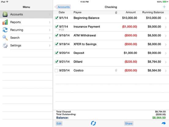 Accounts 2 Checkbook screenshot