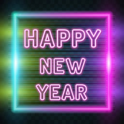 2021 New Year Neon Stickers
