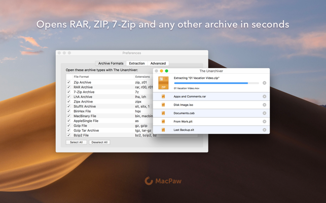 The Unarchiver on the Mac App Store