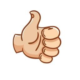 Hand emoji & top text stickers