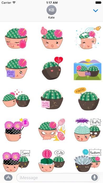 Lovely Cactus Emoji Sticker screenshot 1