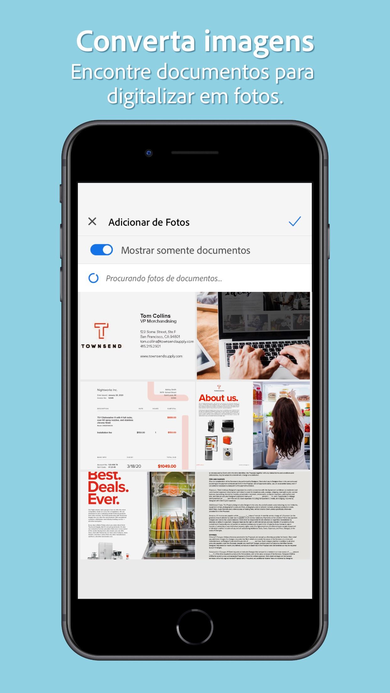 Screenshot do app Adobe Scan: PDF Scanner e OCR