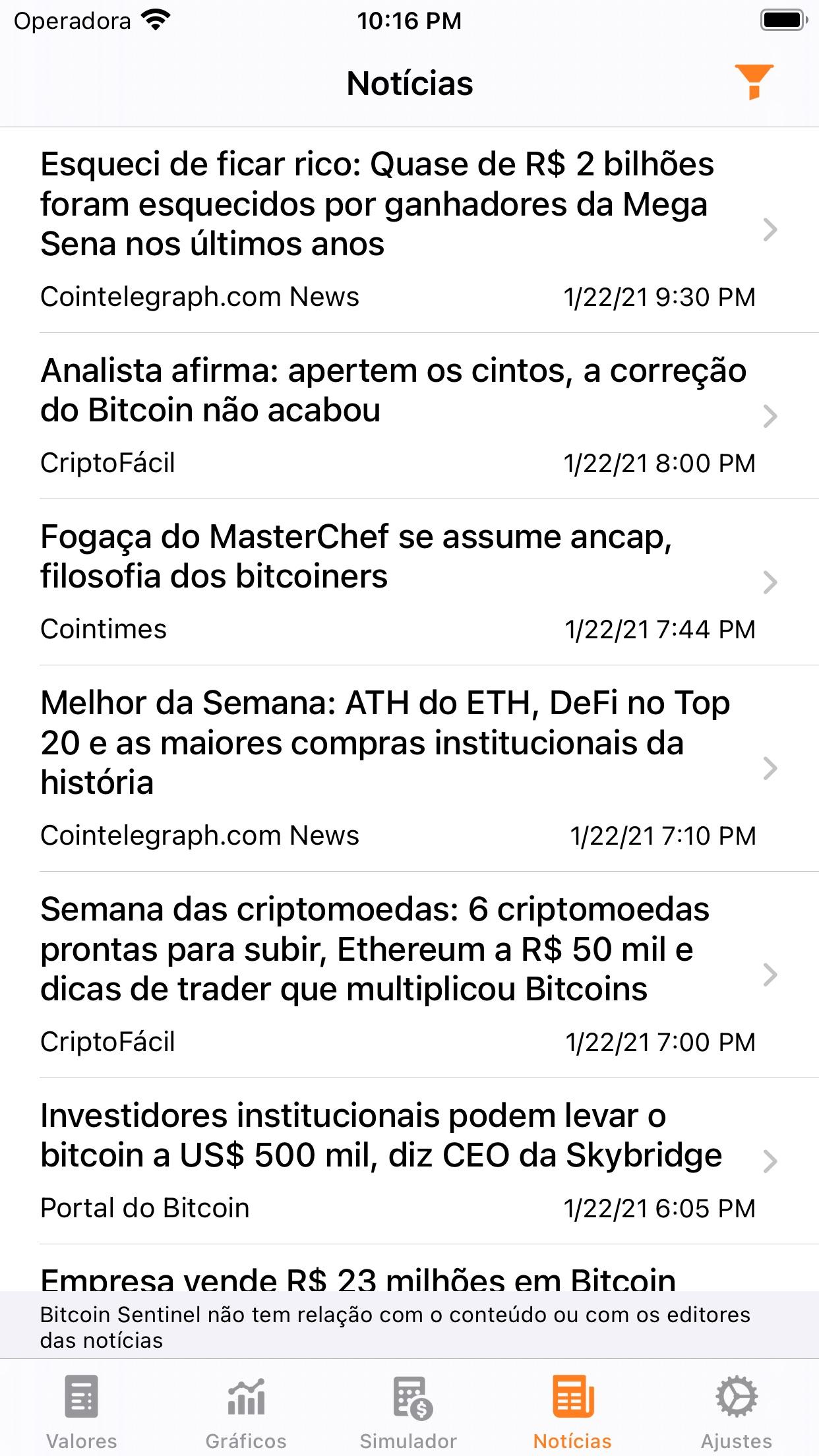 Screenshot do app Bitcoin Sentinel