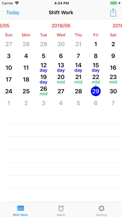Shift worker's calendar screenshot-0