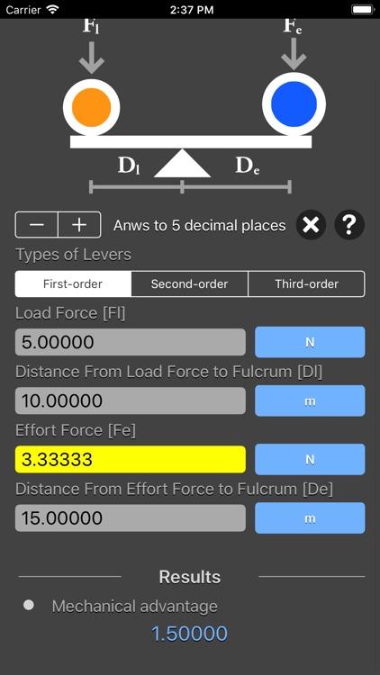 Levers Calculator