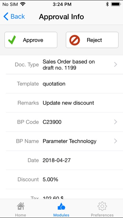 Screenshots of SAP Business One for iPhone