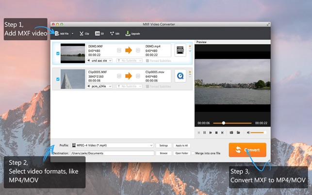 MXF Video Converter-zu MP4/MOV Screenshot