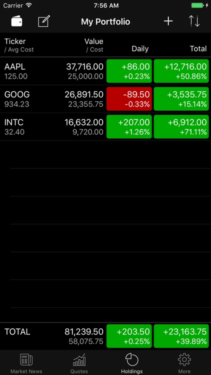 Stocks Widget and Portfolio screenshot-4