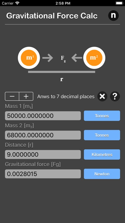 Gravitational Force Calculator screenshot-6
